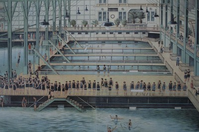 Painted representation of what Sutro Baths in San Francisco looked like from the inside.