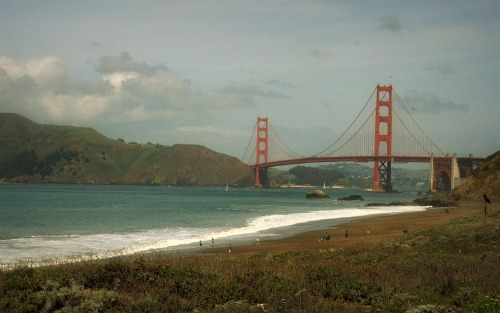 Looking east towards the Golden Gate Bridge at Baker Beach, San Francisco.