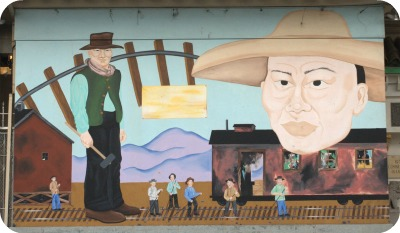Chinatown, San Francisco - mural of railroad workers