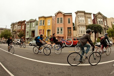 Image of bicycle riders participating in Critical Mass, San Francisco.