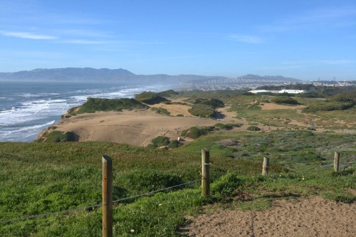 View of sand dunes at Fort Funston at northernmost neighborhoods of San Francisco.
