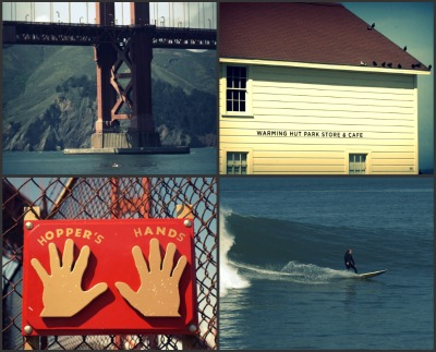 Image of Warming Hut, Surfer, Golden Gate Bridge and Hopper's Hands at Fort Point.
