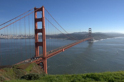 View of Golden Gate Bridge from Marin Headlands Lookout