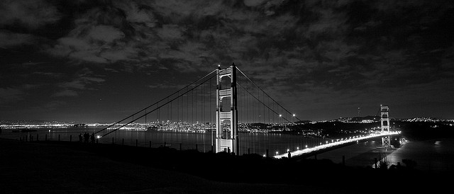 san francisco golden gate bridge at night. Golden Gate Bridge at night.