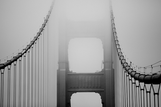 Golden Gate Bridge cable immersed in fog