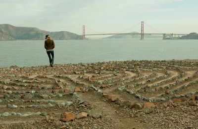 Image of the labyrinth at Mile Rock Beach in San Francisco.
