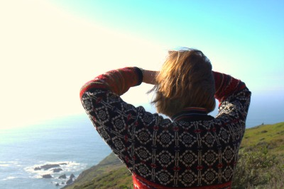 Mom checking out the view from the Marin Headlands near Rodeo Beach.