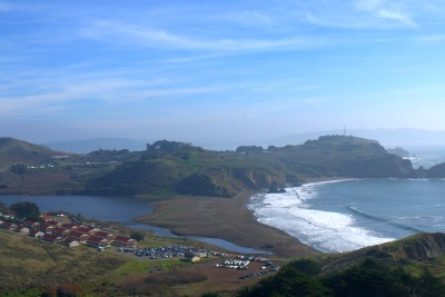 Image of Rodeo Beach from Marin Headlands.