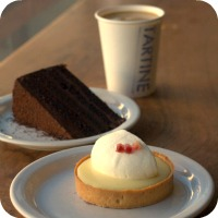 Image of latte and desserts from Tartine Bakery