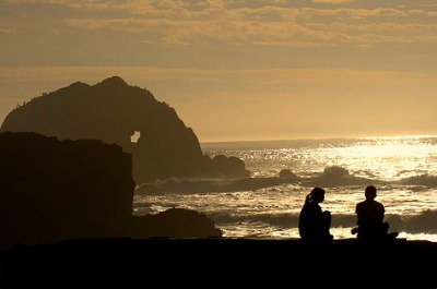 Sunset and Silhouettes at Sutro Baths San Francisco