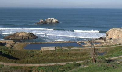 View of Sutro Baths in San Francisco looking north.