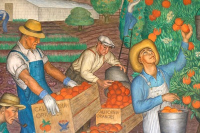 Coit Tower Mural - Picking oranges