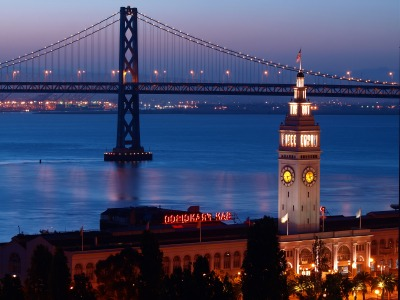 Image of the Ferry Building at Night