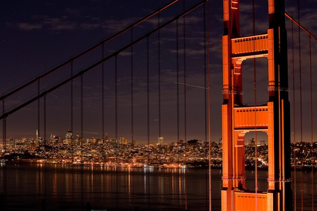 Golden Gate Bridge at night, close-up.