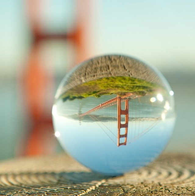 Image of the Golden Gate Bridge taken through a crystal ball