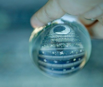 Image of the Moraga Steps in San Francisco through a crystal Ball.