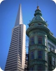 Francis Ford Coppola and Transamerica Building in North Beach San Francisco