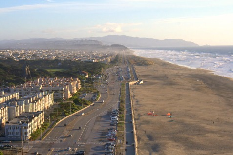 Image of Ocean Beach  San Francisco from Sutro Park
