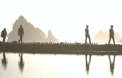 Silhouettes and reflections at Sutro Baths San Francisco